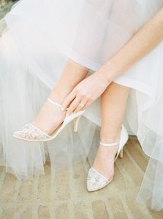 Classic wedding shoes with lace details {Milena Grace Photography}