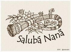 """ARTE ENCOMENDADA! Destino: São Paulo-SP """"SALUBÁ NANÃ"""" Técnica: bico de pena s/ papel 180g/m², tamanho A4."""