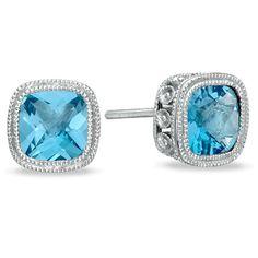 Cushion-Cut Blue Topaz Earrings in Sterling Silver