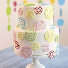 Circular Colorful Dots Applique Whimsical Cake