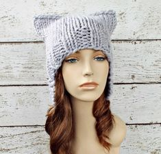 Pewter Grey Ear Flap Hat Cat Beanie Knit Hat Womens Hat - Grey Hat Grey Beanie Grey Cat Hat Womens Accessories Winter Hat by pixiebell on Etsy