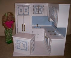 Doll House Furniture- FULL Kitchen  made for American Girl size doll furniture stove,refigerator,sink all in one kitchen  blue flower design- wood and hand painted.  SUPER Christmas gift for a lucky little girl.