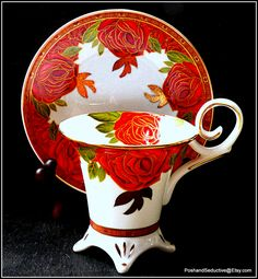 """Exquisite footed cup and saucer duo by Decor du Galion Limoges """"So French"""" with…"""