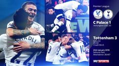 Spurs win 3-1 away at Crystal Palace. 23/01/16
