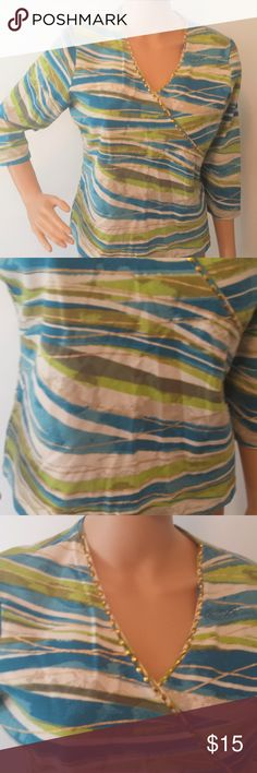 """Blue White Green Ruby Rd. 3/4 Sleeve Top Great condition!  Gold beads on neckline.  Measures 23"""" from shoulder to bottom hem.  41"""" bust. Ruby Rd. Tops"""