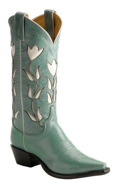 Justin Vintage Turquoise Tulip Inlay Cowgirl Boots - Snip Toe available at #Sheplers