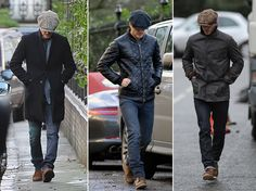 Are there wrong ways to wear this cap? But Beckham (who's having a busy week) proves how to wear it correctly and we might add pretty well on multiple occasions. Leather Fashion, Leather Men, Leather Jacket, Mens Fashion, Dark Brown Boots, Light Blue Jeans, Flat Cap, Mens Caps, David Beckham