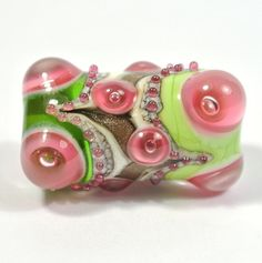 Green, Pink and Gold Lampwork Focal Glass Bead