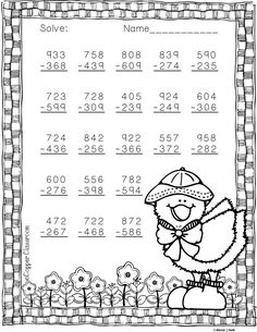 Easter Themed 3 Digit Subtraction With Regrouping Math Practice Worksheets, School Worksheets, Math Resources, Math Activities, Logic Problems, Dj Inkers, Math Addition, Math Numbers, Math Stations