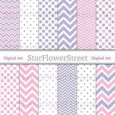 Pink and Purple Chevron Polka Dot Digital Paper Instant Download Scrapbook Background small large pa