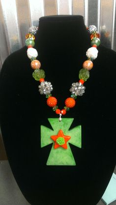 Orange and Green Chunky Necklace With Cross Pendant