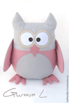 Подушка-игрушка сова - бледно-розовый,серый,подушка для детской,подушка игрушка