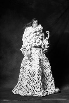 Sculptural Fashion - oversized knitted skirt & top with chunky textures - wearable art; 3D knitwear design // Jacqueline Fink