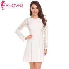 Women Bohemian White Lace Dress Autumn Crochet Ladies Office Dress Long Sleeve Hollow Out Mini Dress Women White XXL Types Of Dresses, Casual Party, Lace Sleeves, Fall Dresses, Sleeve Styles, White Lace, Lace Dress, Clothes For Women, Long Sleeve