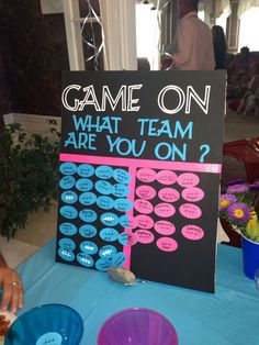 Cute idea for a gender reveal baby shower!
