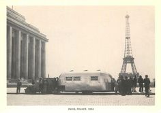 Airstream Trailer at Eiffel Tower in Paris in 1956