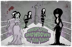 Midnight Spook Showdown - Tag Team Terror - Original Art Print by The Zombified. $23.00, via Etsy.