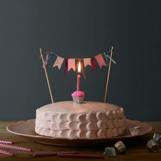 1st birthday cake with a washi tape banner - I like the wasabi tape banner idea, but on top of a taller, narrower cake.