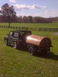 """Land Rover Defender and the """"Party Wagon."""" Roseview Dressage, Millbrook, NY http://pinterest.com/RosevieDressage/"""