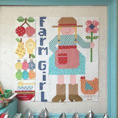 """Now I can finally show you something I was working on to get ready for my latest Farm Girl Vintage retreat/workshop. I designed a Happy Farm Girl block! I made it into a little wall quilt using five of the 6"""" blocks in my book. This is before I sewed them together and added borders:) Of course she is wearing a gingham apron and boots!!! You can be the boss of your own quilt by choosing 5 of your favorite 6"""" blocks to make your own! This new pattern is called Happy Farm Girl and is now…"""
