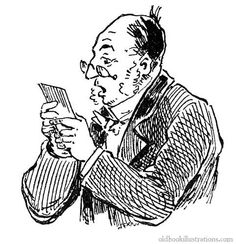 Illustration showing a bald man, wearing sideburns and eyeglasses  reading a letter with a surprised look on his face.