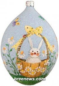 Daisy Basket Egg Patricia Breen (Blue, Bunnies, Butterflies, Flowers, Green, Lavender/violet, Orange, Pearl/white, Tag - Blue, Yellow  Decorations, Ornament, Easter, Spring)