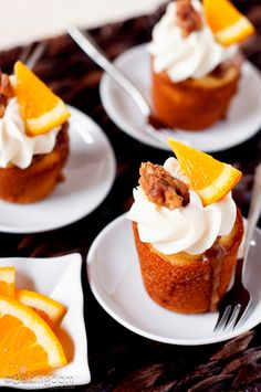 Orange Cupcakes with Brown Sugar Walnut Glaze and Cream Cheese Frosting