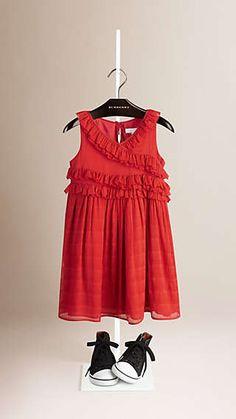 Ruffle Detail Silk Dress