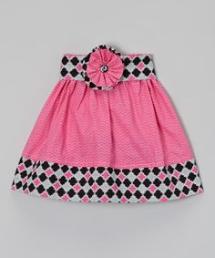 Tonal Pink Chevron Skirt with Multicolored by TheIndigoPrincess, $15.00