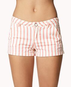 Vertical Stripe Denim Shorts | FOREVER21 Who's ready for summer? #Coral #Summer #Beach #Cute #ColoredDenim