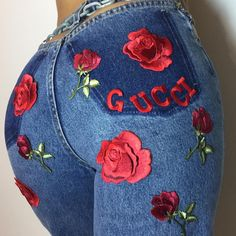 Rose Flower Applique Badge Embroidered Sew On Floral Collar Patch Dress Craft & Garden Jeans Casual, Trendy Jeans, Denim Jeans, Gucci Jeans, Look Retro, Inspiration Mode, Fashion Inspiration, Flower Applique, Diy Clothing