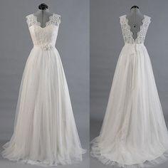 Ivory Lace Top V Back Long Cheap Beach Wedding Dresses, PM0603