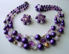 Vintage Purple Germany Demi Parure Necklace & Earrings by JoysShop, $16.95