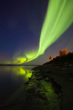 Northern lights from the shores of the Mackenzie River in Fort Simpson, Northwest Territories.