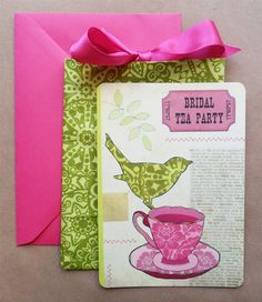wedding invite pink and green
