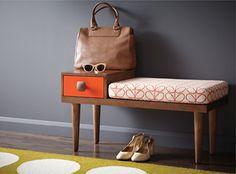 Ma lubie_les meubles d'entrée rétro. Motif Orla Kiely.