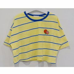 99bunny Striped Fruit Detail Cropped Tee