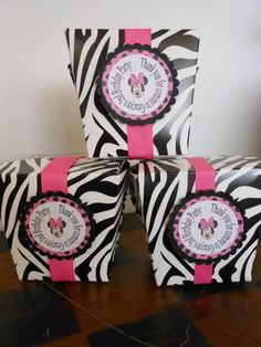 Minnie Mouse Zebra Take Out Party Boxes with Personalized Tags- Order of Zebra Birthday, Minnie Birthday, Girl Birthday, Birthday Ideas, Birthday Parties, Happy Birthday, Minnie Mouse Party Decorations, Birthday Decorations, Party In A Box