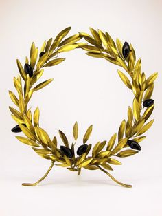 Olive Wreath Brass Sculpture Olive Tree Wreath by LifeTreeArt