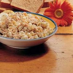 Tuna Pasta Salad Recipe -Mustard and dill really add wonderful flair to the flavor of this simple salad. It's really very inexpensive to serve.—Pat Kordas, Nutley, New Jersey Tuna Salad Pasta, Pasta Salad Recipes, Seafood Recipes, Cooking Recipes, Tuna Recipes, Spinach Salad, Chicken Salad, Recipies, Easy Salads