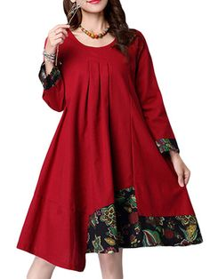Ethnic Linen Patchwork A-Line Long Sleeve Dress