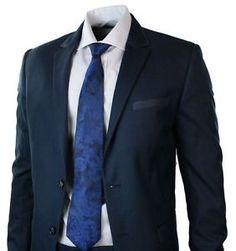 a para hombre ajustado en azul marino traje ribete azul blazer trouser smart oficina boda fiesta prom