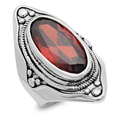 Regal Jewelry Garnet & Silvertone Oval Ring ($18) ❤ liked on Polyvore featuring jewelry, rings, 18k ring, fake jewelry, silver tone jewelry, imitation jewelry and 18 karat gold jewelry