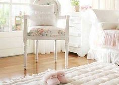 Love this Shabby Chic room including the wood floor