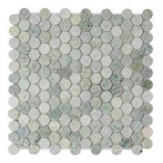 SHEET SIZE: aactual Polished Ming Green Marble Penny Round Mosiac floor and wall tile. packaged in Boxes of 5 SQFT. Marble Mosaic, Mosaic Glass, Mosaic Tiles, Mosaics, Stone Mosaic, Mosaic Wall, Bathroom Floor Tiles, Wall Tiles, Green Marble Bathroom
