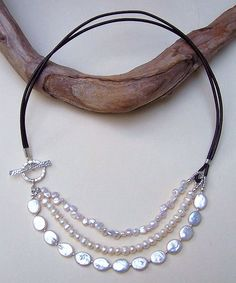 I like the idea of using different kinds of pearls to create this lovely piece.