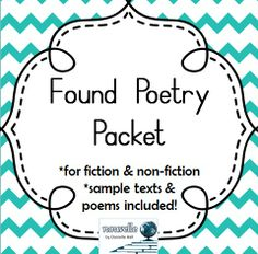 "Want to get students to read for key ideas and write poetry at the same time? Try ""found"" poetry! Includes sample texts, poems, and worksheets. (6-12)"