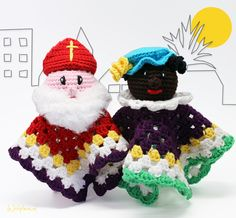 Crochet pattern Cuddle cloth Sint and Piet A free Dutch crochet . : Crochet pattern Cuddle cloth Sint and Piet and his help A free Dutch crochet pattern of Sint and Piet. Do you want to crochet this cuddle cloth too? Then read o Crochet Lovey, Crochet Patterns Amigurumi, Cute Crochet, Crochet For Kids, Crochet Dolls, Crochet Children, Barbie, Crochet Projects, Crochet Tutorials