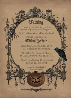If you're planning to throw a monster bash this Halloween, then you'll need the perfect party invitations to entice guests to your house of horrors. Spooky Halloween, Halloween Party Kostüm, Witch Party, Fairy Halloween Costumes, Halloween Party Supplies, Couple Halloween, Halloween Decorations, Vintage Halloween, Ghost Costumes