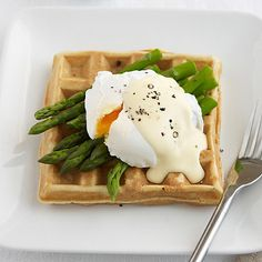 Savoury Waffles served with Poached Egg, Asparagus and Hollandaise Sauce  - from Lakeland